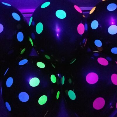 Black with Neon Polka Dots Glow Party Balloons