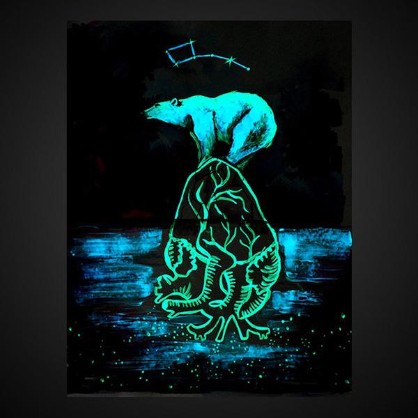 Polar Bear Glow in The Dark Wall Art